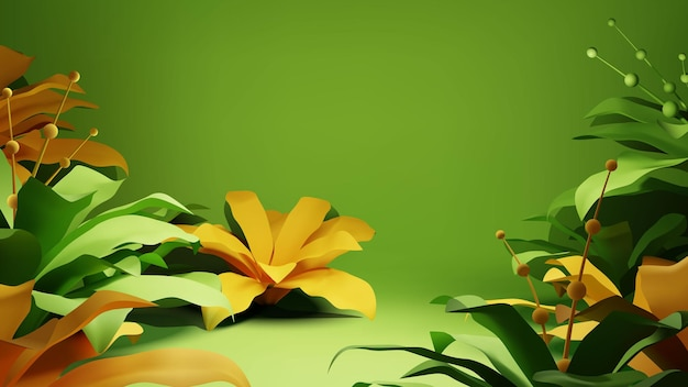 Ilustração realista da cena da folhagem de uma planta tropical colorida