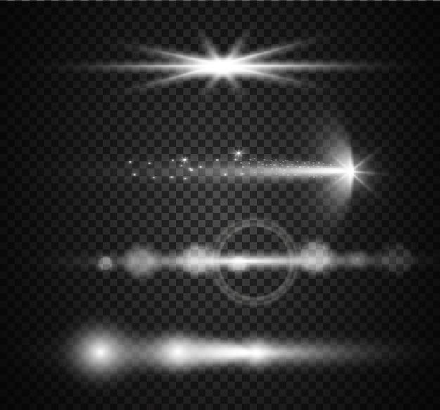Ilustração realista da coleção de elementos do lens flare