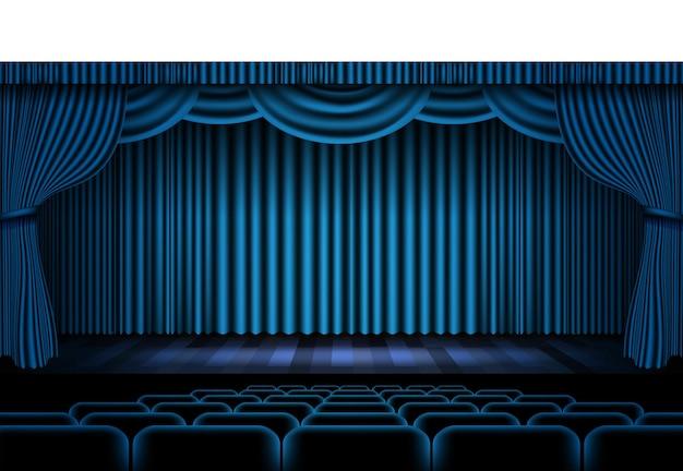 Ilustração realista da cortina do palco azul