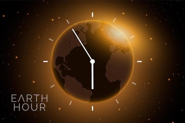 Ilustração realista da hora da terra com planeta e relógio