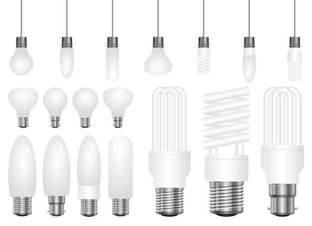 Ilustração realista da lâmpada isolada no fundo branco