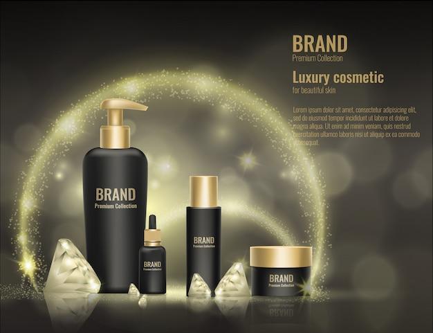 Ilustração realista da propaganda do diamante do ouro 3d do pacote do produto do molde do cosmético.