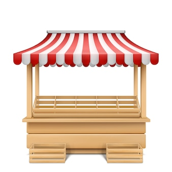 Ilustração realista da tenda do mercado vazio com toldo listrado vermelho e branco