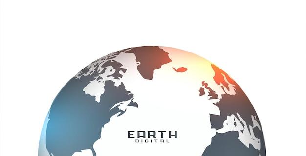 Ilustração realista da terra em fundo branco