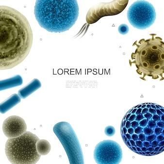 Ilustração realista de bactérias e vírus com germes, bactérias e células virais de diferentes formas.