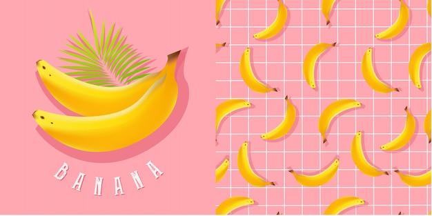 Ilustração realista de banana e padrão sem emenda