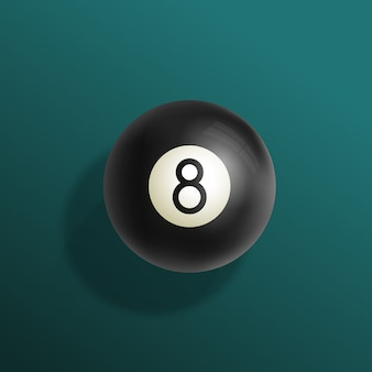 Ilustração realista de bola de bilhar oito com pano de mesa de bilhar verde, esfera preta e sombras suaves.