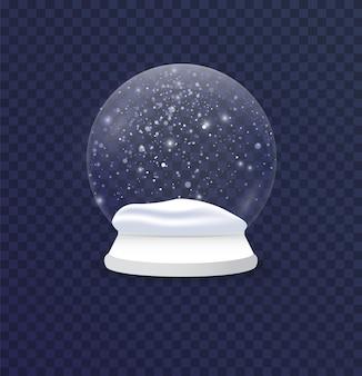 Ilustração realista de bola de neve de natal e ano novo