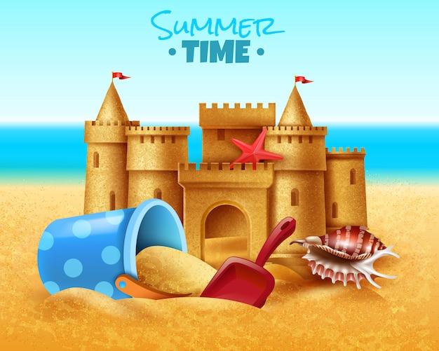 Ilustração realista de castelo de areia