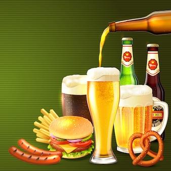 Ilustração realista de cerveja