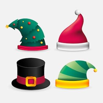 Ilustração realista de chapéus de personagem de natal