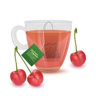 Ilustração realista de cherry tea, xícara de chá