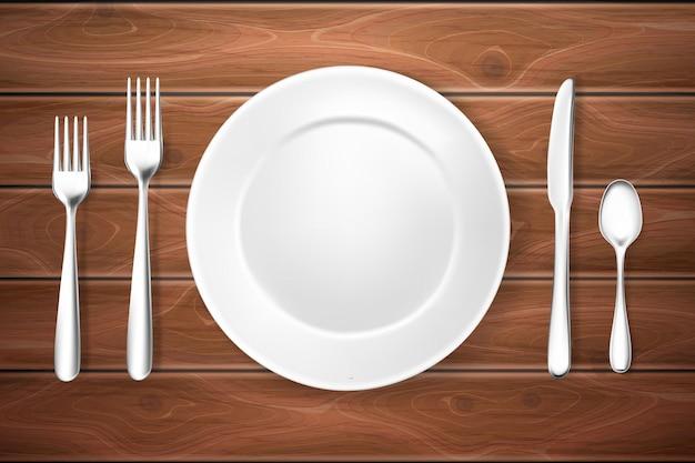 Ilustração realista de configuração de mesa