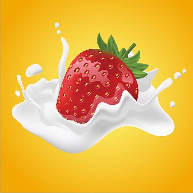 Ilustração realista de creme de morango com leite