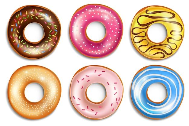 Ilustração realista de donuts doces