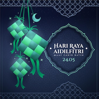 Ilustração realista de eid al-fitr - hari raya aidilfitri