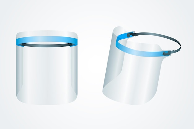 Ilustração realista de escudo de rosto de plástico