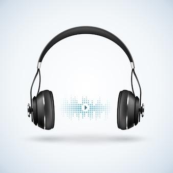 Ilustração realista de fones de ouvido sem fio