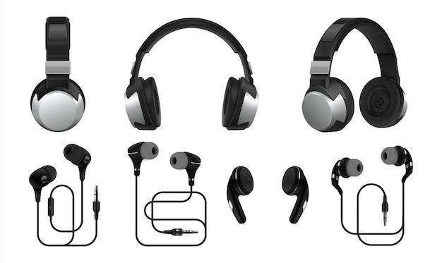 Ilustração realista de fones de ouvido