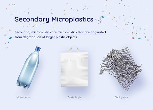 Ilustração realista de fontes secundárias de microplásticos. conceito de proteção ecológica