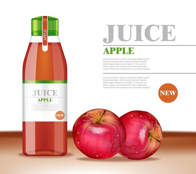Ilustração realista de garrafa de suco de maçã