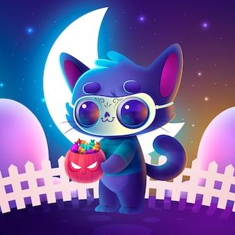 Ilustração realista de gato de halloween