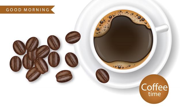 Ilustração realista de grãos de café de xícara de café