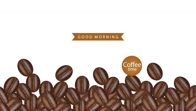 Ilustração realista de grãos de café