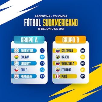 Ilustração realista de grupos de futebol sul-americano
