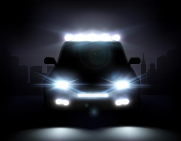 Ilustração realista de luzes de carro