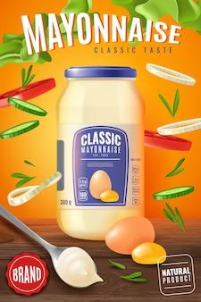 Ilustração realista de maionese cartaz vertical com uma jarra de vidro de maionese
