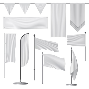 Ilustração realista de maquetes de bandeira para web