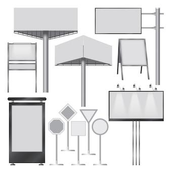 Ilustração realista de maquetes de banners ao ar livre para web
