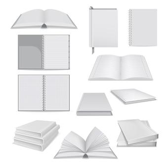 Ilustração realista de maquetes de bloco de notas de livro para web