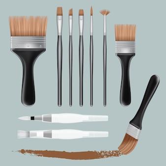 Ilustração realista de maquetes de tinta pincel para web