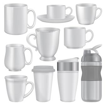 Ilustração realista de maquetes de xícara de caneca para web