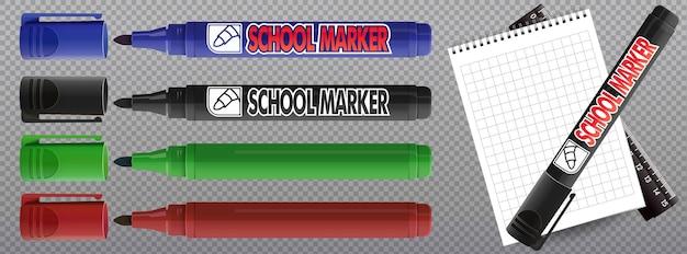 Ilustração realista de marcadores coloridos.