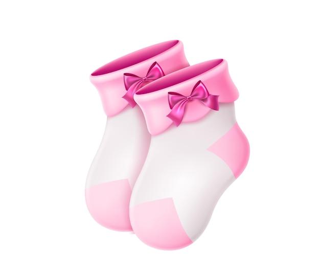 Ilustração realista de meias de lã para bebês