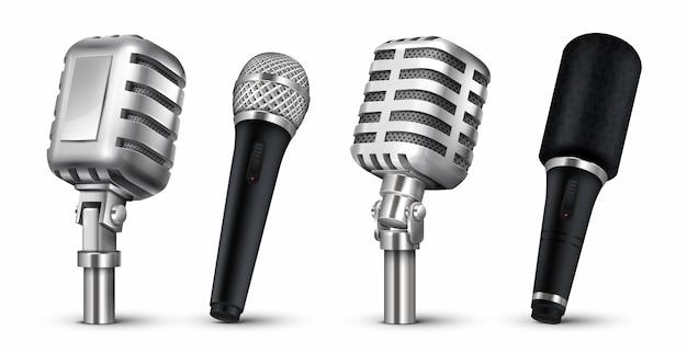 Ilustração realista de microfones