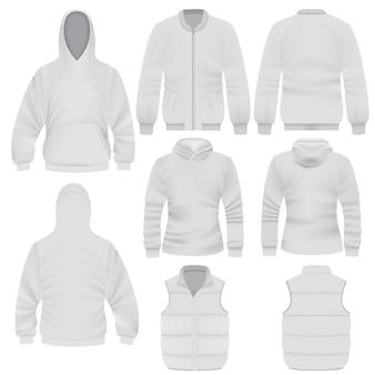 Ilustração realista de modelos de roupas quentes para web