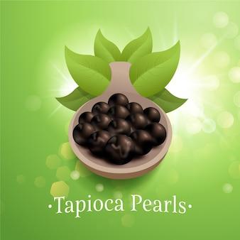 Ilustração realista de pérolas de tapioca