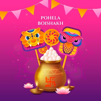 Ilustração realista de pohela boishakh