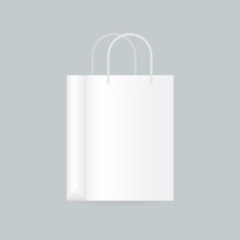 Ilustração realista de sacola de compras branca em branco