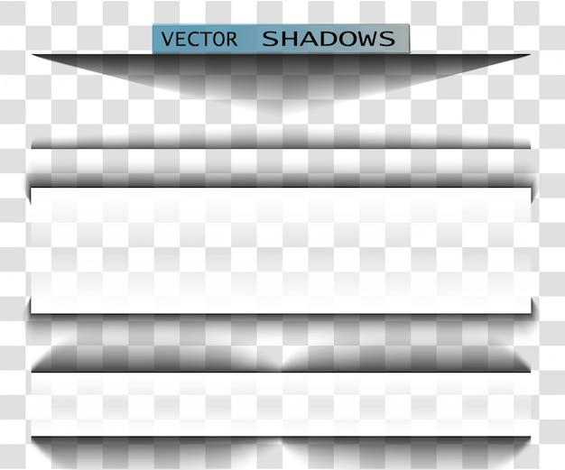 Ilustração realista de sombra transparente. divisor de página com sombra transparente isolada.