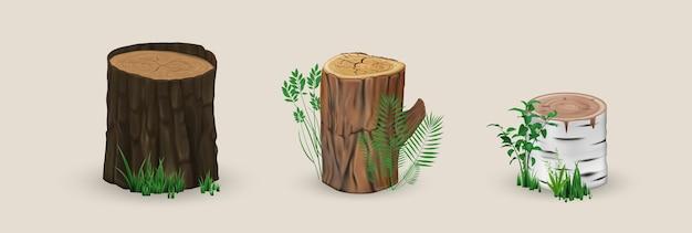 Ilustração realista de tocos de madeira