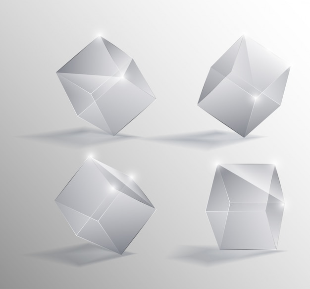 Ilustração realista de um vetor de cubos de vidro transparente em diferentes posições