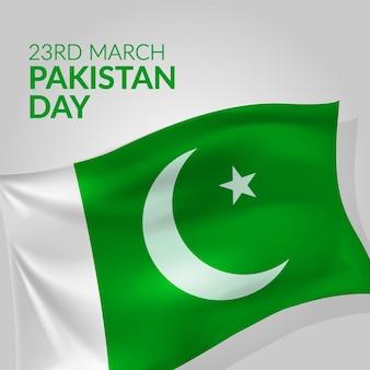 Ilustração realista do dia do paquistão com bandeira