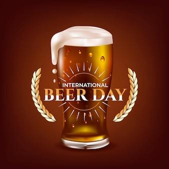 Ilustração realista do dia internacional da cerveja