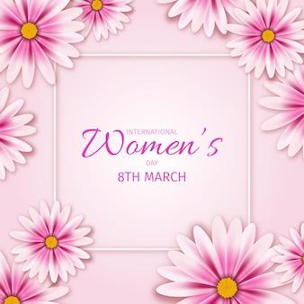 Ilustração realista do dia internacional da mulher com flores e moldura