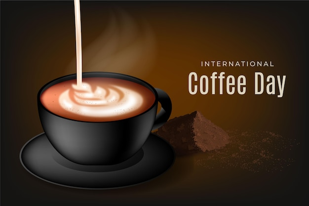 Ilustração realista do dia internacional do café